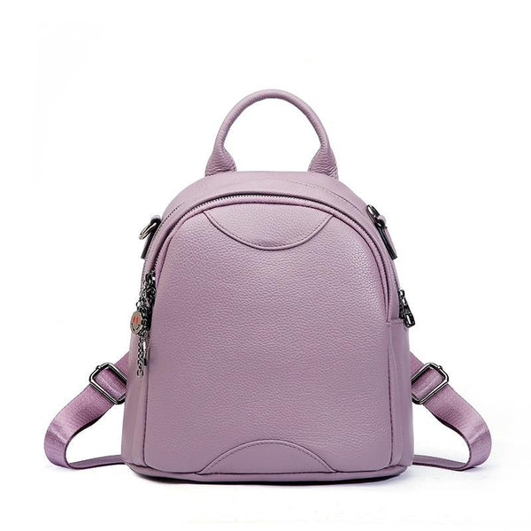 Backpacks women's genuine leather round shape 100% top layer of calfskin small soft