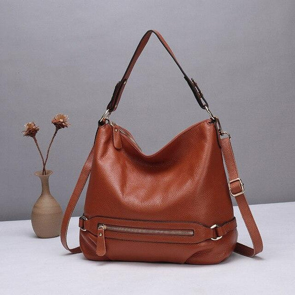 Handbag women genuine leather messenger big shoulder crossbody tote zipper