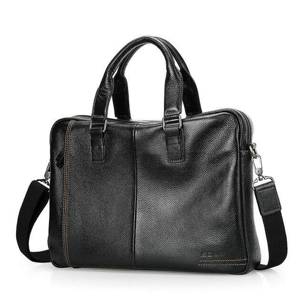 "Briefcase men business genuine leather cowhide messenger bags 14"""" laptop luxury lawyer handbag"