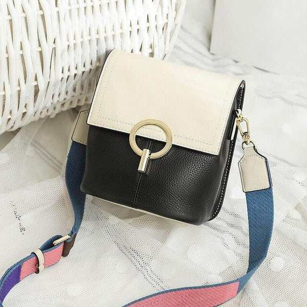 Bag women skin crossbody mini bucket design cowhide messenger