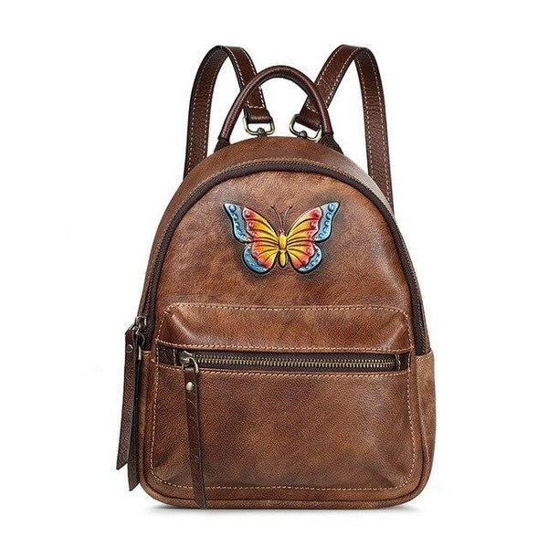 Backpack women's fashion retro genuine leather small designer embossed butterfly cowhide