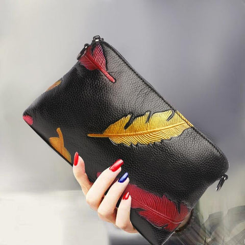 Purse modern clutch bag soft genuine leather cow clutches small flap party shoulder crossbody gifts