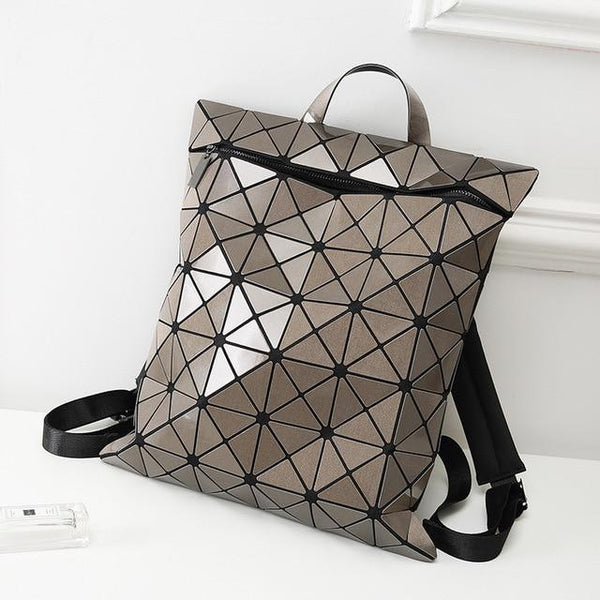 Backpack women's fashion geometry daily trendy college folding sequins rucksack school bags
