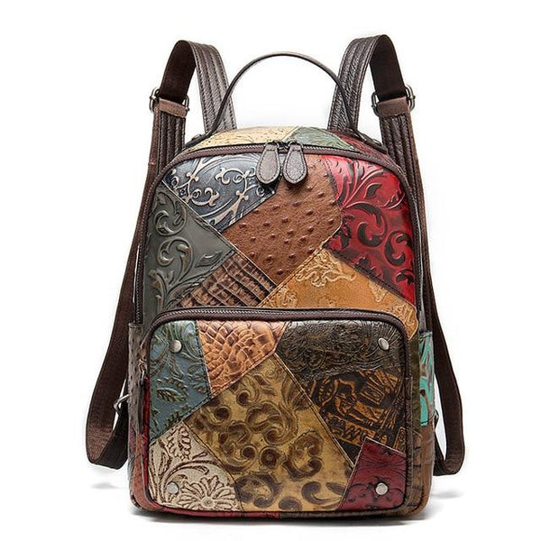Backpacks women's embossing genuine leather floral school laptop patchwork daypack