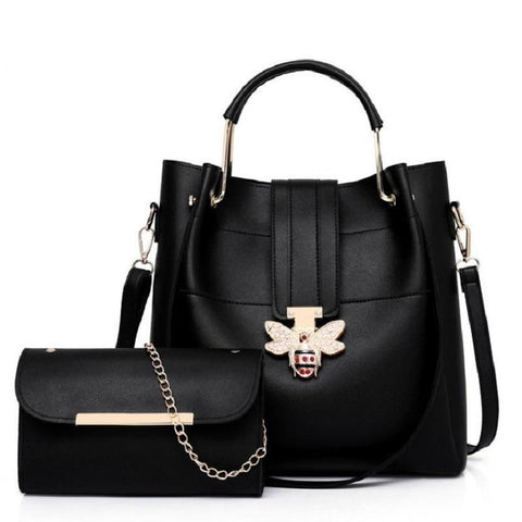 Bag women 2pcs set pu leather casual tote big messenger luxury brand shoulder handbag