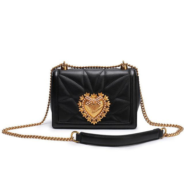 Bags women chain lover heart head genuine leather
