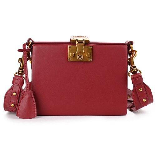 Handbags women retro fashion box genuine leather famous designer shoulder messenger