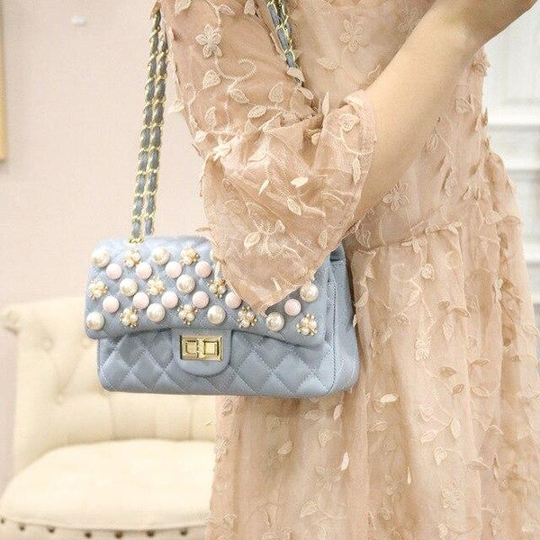 Bag women summer rivet pearl studded shoulder messenger chain luxury fashion purse and handbags