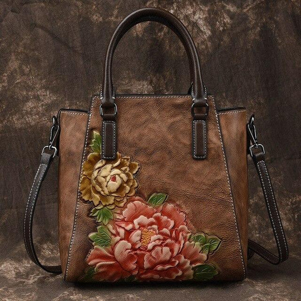 Handbags for women retro peony flower inclined bag simple fashion genuine leather messenger top handle