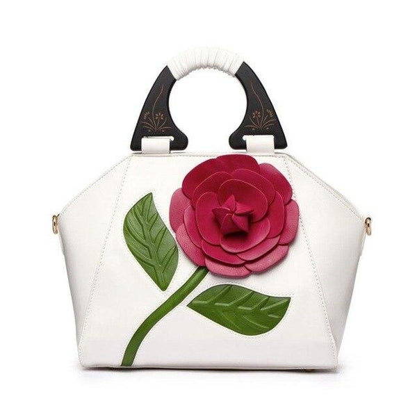 Handbag women 3d flower soft leather big tote wooden handle floral shoulder bride luxury