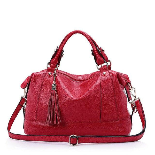 Handbags women patchwork tassel luxury designer genuine leather