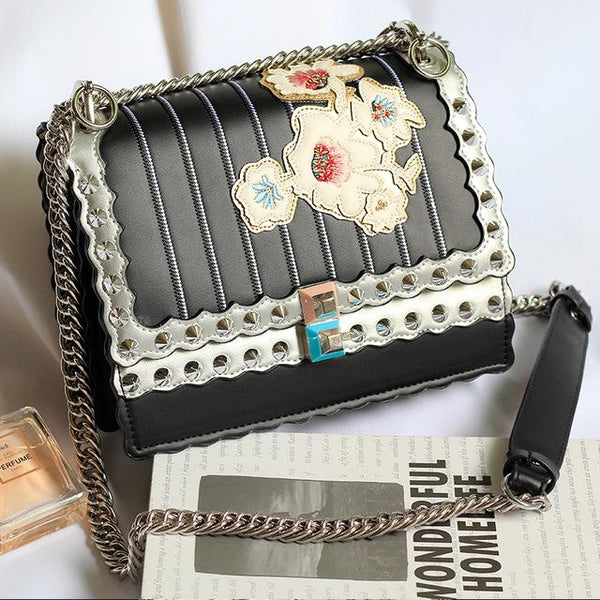 Bags women luxury famous design embroidery shoulder messenger gold chain crossbodyrivet handbags purses sac a main