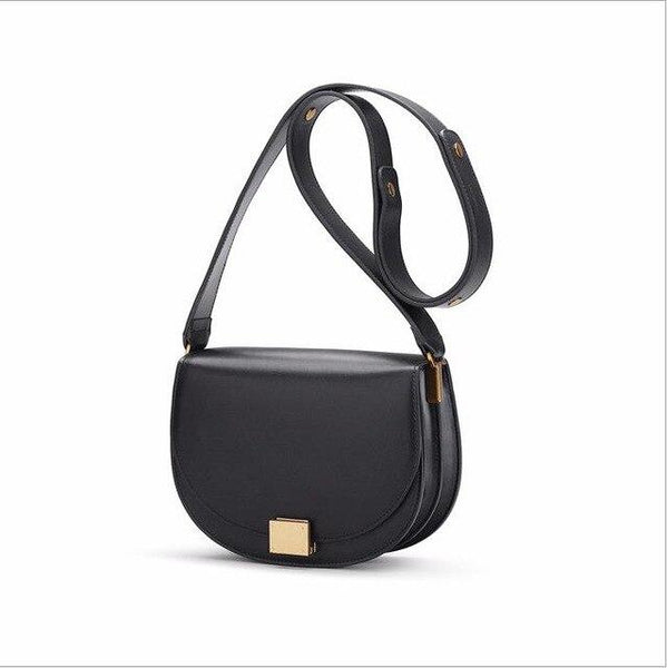 Bag women's leather retro organ saddle bag simple wide shoulder strap