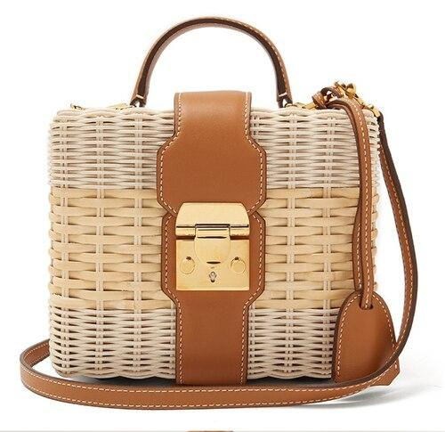 Handbags female seaside holiday straw bag shoulder messenger woven famous designer beach rattan
