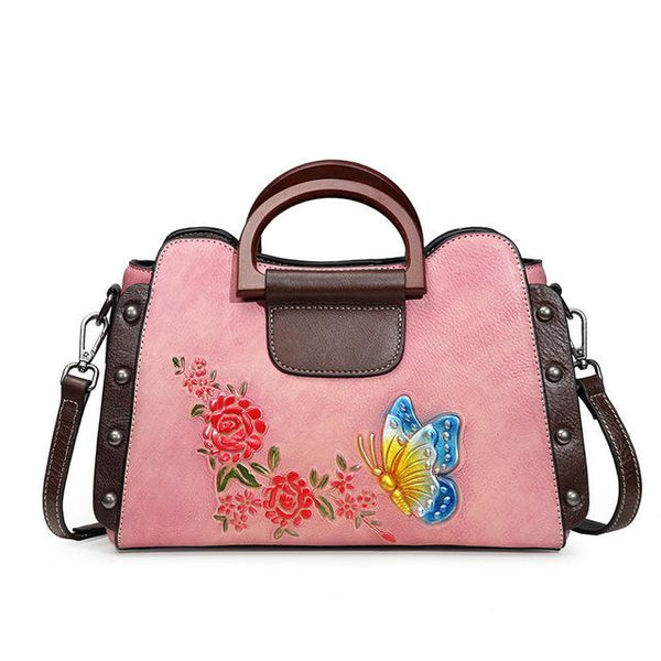Bags women's retro handbags floral butterfly genuine leather single shouder crossbody cowhide top handle
