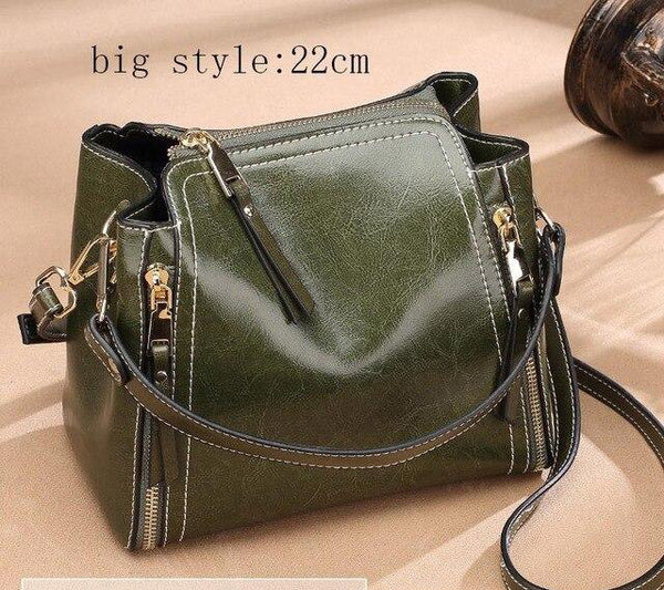 Handbag fashion women mini genuine leather oil wax split flap modern messenger party shoulder bags for gifts