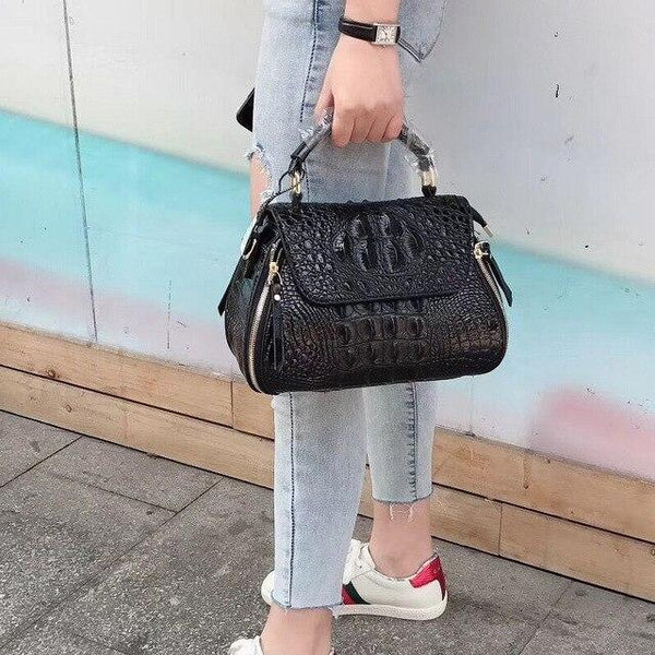 Handbag woman leather crocodile grain layer cowhide leisure time single shoulder package embossing oblique satchel
