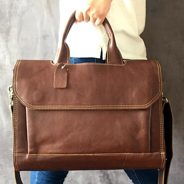 Briefcase women real genuine leather handbag business computer literary 14 inch laptop shoulder messenger