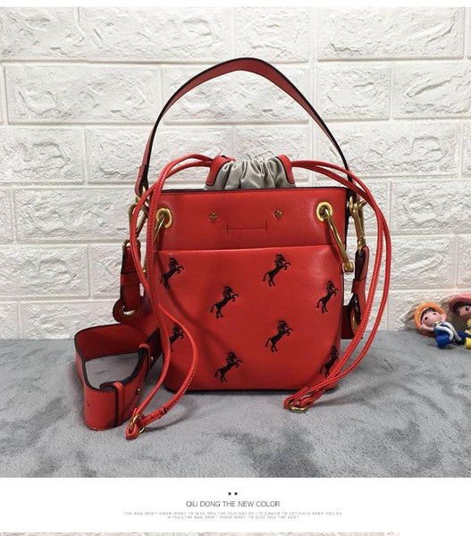 Bucketbag female luxury designers genuine leather horse embroidered string closure top-handle
