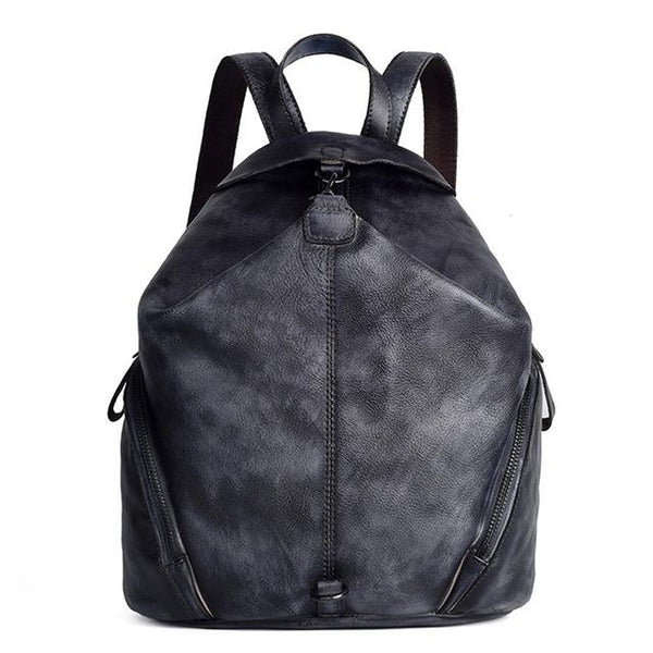 Backpack women genuine leather vintage travel bag school daypack real cowhide