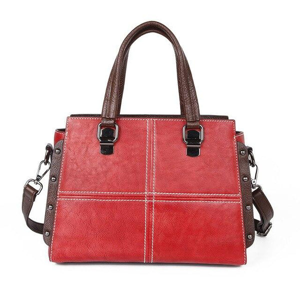 Handbag female genuine leather tote bag natural skin flag luxury shoulder cross body retro messenger