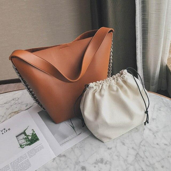 Bag women shoulder large capacity chain bucket handbags pu leather totes shopping