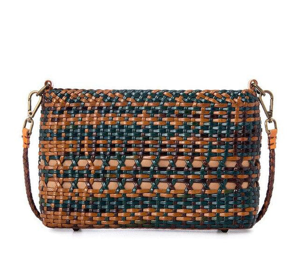 Bag women's luxury genuine leather woven design national style handmade woven shoulder messenger