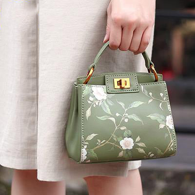 Handbag woman vintage floral printing mini brand designer chain shoulder fashion lock leather luxury