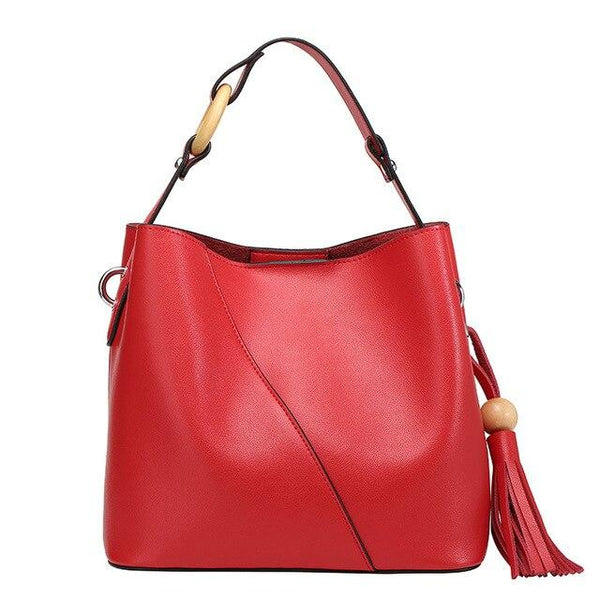 Bag women vintage genuine leather bucket tassels decoration shoulder fashion all-match handbags