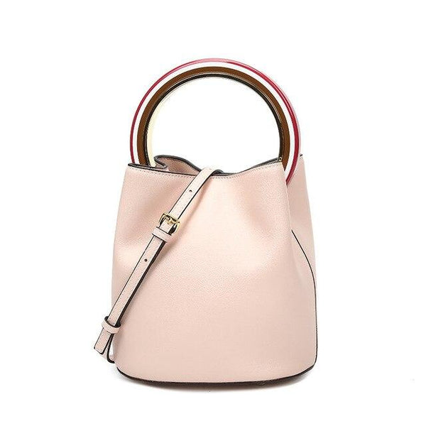 Handbags women round handle bucket genuine leather luxury designer contrast shoulder messenger