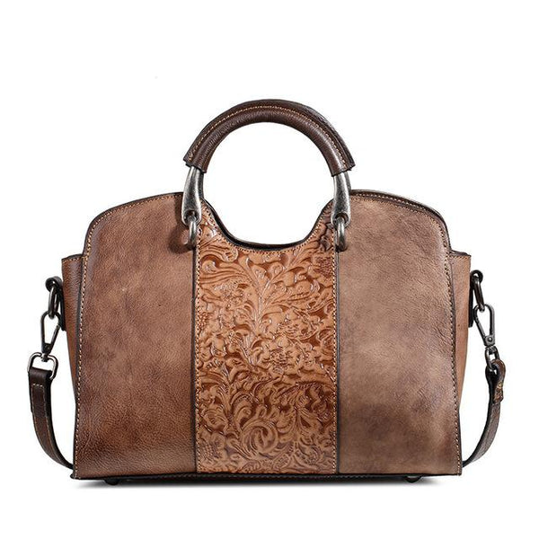 Handbags women vintage embossed leather luxury brand designer genuine tote shoulder top handle