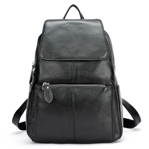 Backpacks women fashion 100% genuine leather casual travel knapsack laptop pocket schoolbag