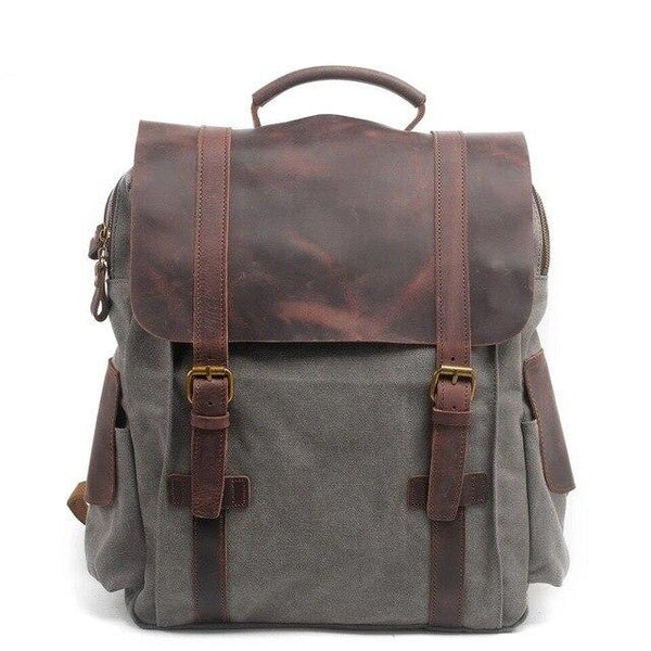 Backpacks men casual canvas vintage school bags young large capacity travel leather laptop