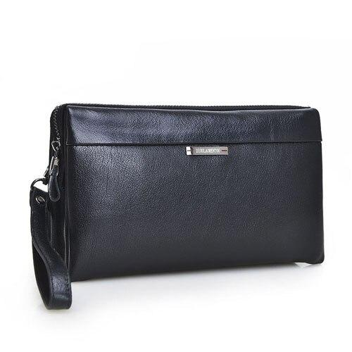 Wallets men vintage business hand bag clutch bags long genuine leather luxury brand with wristlet