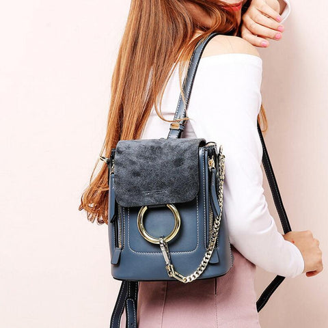 Backpack women chain metal rings design genuine leather multifunction vintage mini double shoulder
