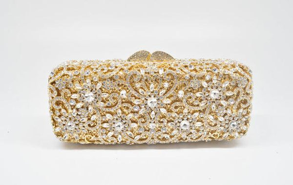 Clutch women crystal bag evening party minaudiere box purse bridal flower rhinestones handbag