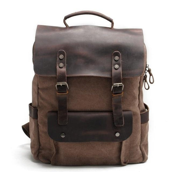 Backpack men multifunction fashion vintage canvas leather school bag neutral portable wearproof travel