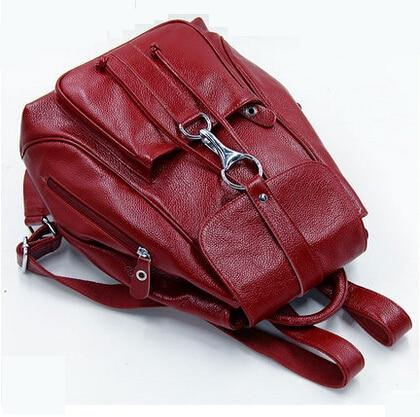 Backpack women genuine leather fashion cow shoulder casual preppy style travel