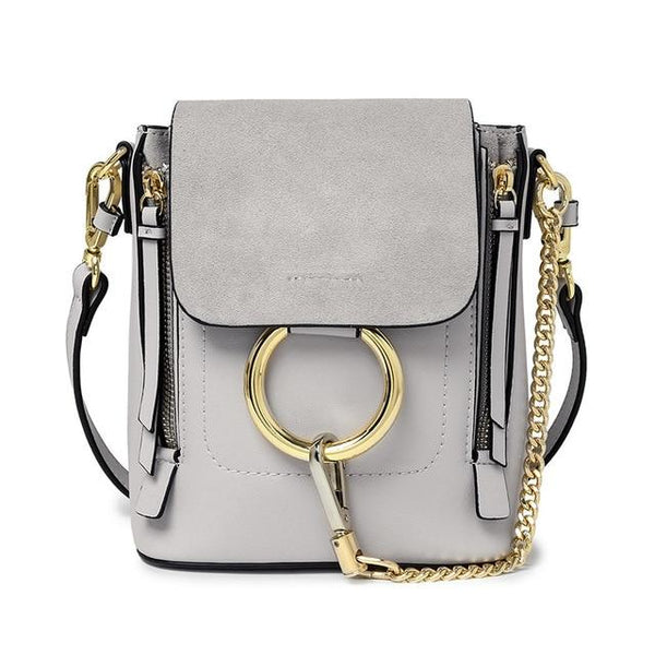 Backpack women genuine leather circle ring chain cross-body cover leather brand designer knapsack