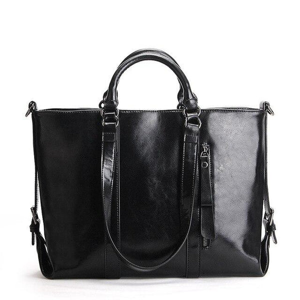 Bags ladies genuine leather big oil wax office tote vintage briefcase handbags shoulder messenger