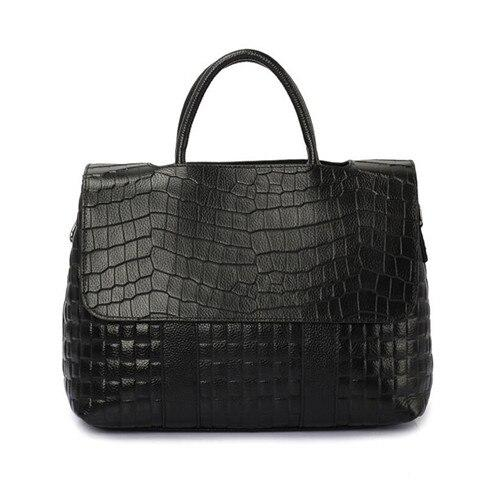 Bags women crocodile pattern real leather tote genuine handbags luxury designer shoulder crossbody