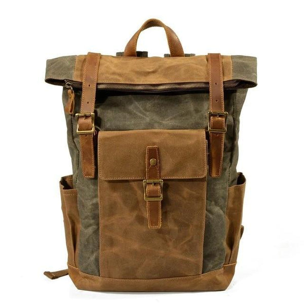 Backpack male vintage canvas leather laptop college school outdoor travel casual daypacks waterproof bag