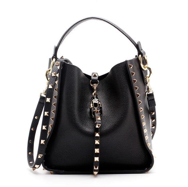Bags for women genuine leather famous brand rivet crossbody bags messenger shoulder luxury designer