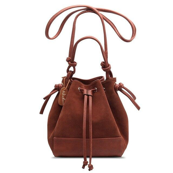 Bag women fashion split leather shoulder suede casual crossbody bucket handbag messenger hobo