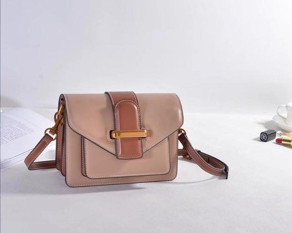 Bag for ladies genuine leather small flap bag fashion design box elegant shoulder real messenger