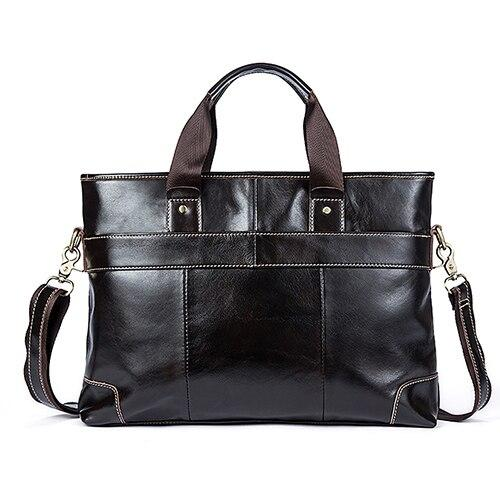 Briefcase male leather laptop genuine handbags tote messenger business for documents