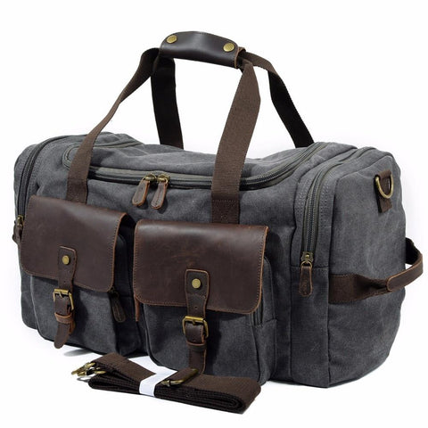 Luggage men military canvas travel bags carry on duffel tote large capacity weekend overnight