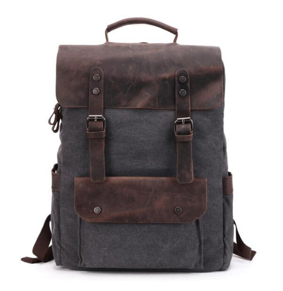 "Backpacks for men vintage canvas leather 14"""" laptop daypacks waterproof rucksacks large waxed travel"