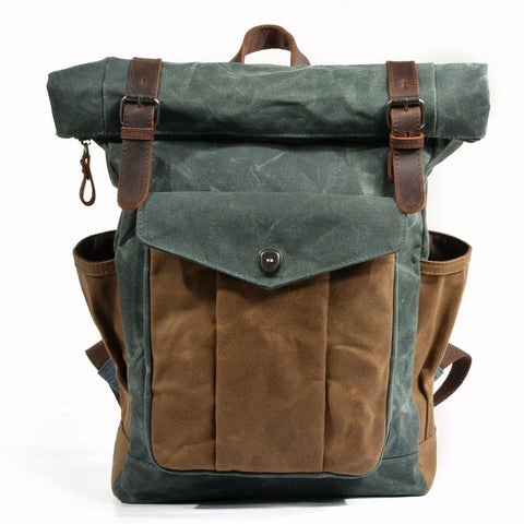Backpacks men luxury vintage canvas oil wax leather travel large waterproof daypacks retro