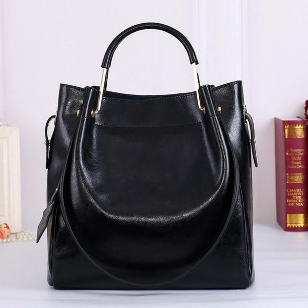 Handbag women fashion 100% genuine leather simple travel tote large capacity shoulder crossbody purse